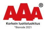 AAA, korkein luottoluokitus. Bisnode 2021.